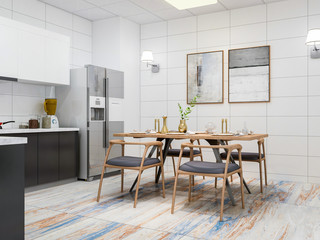 Modern kitchen and dining room design renderings, solid wood dining table, cabinets, refrigerator, etc. in a spacious kitchen, separated from the living room by a glass door