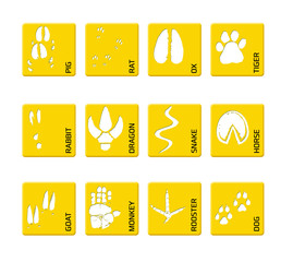 Chinese zodiac signs icons set on on a yellow square background. Paw prints marks , footprints of rat, mouse, snake, dragon, pig, rooster, rabbit, horse, monkey, dog, tiger, ox, bull. Illustration
