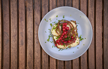 Open face sandwich with cranberries and potatoes