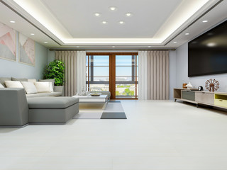 Simple design of living room in modern apartment