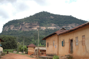 Rural village and hillside in Ghana.