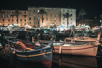 Fishing boat moored in Ajaccio port at night