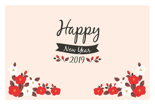 2019 camellia flower New Year's Card Template