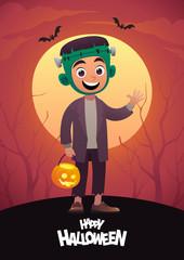 Cartoon character child in costume Frankenstein monster Happy Halloween red background