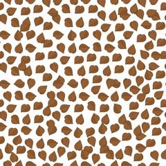 Buckwheat. Background, wallpaper seamless. Sketch. Brown grains, granules.