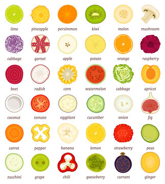 Sliced fruits and vegetables. Set of different vector food in a cut. Top view.