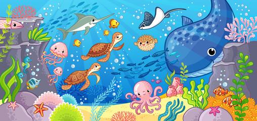 Cute cartoon animals underwater. Vector illustration on a sea theme. Wall mural