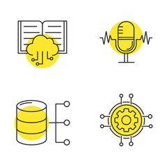 Machine learning linear icons set