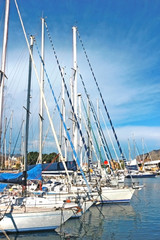 sailing boats lying in a yacht harbor
