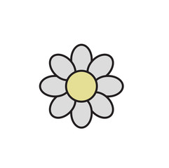 Simple daisy chamomile. Camomile icon. Cartoon design icon. Colorful flat vector illustration. Isolated on white background.