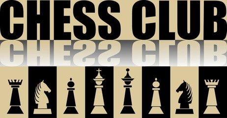 Chess club banner with chess pieces and mirror effect, vector illustration