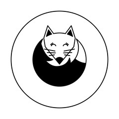 Black and white fox logo for illustration. Icon on a white background. Vector illustration