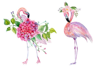 Watercolor pink flamingo and tropical flowers.
