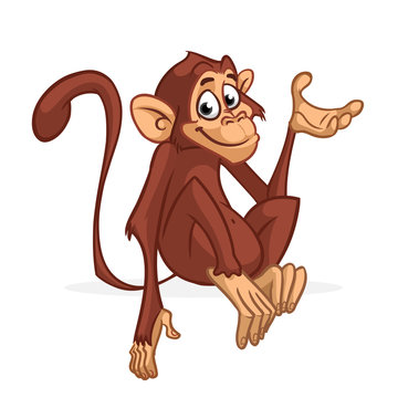 Funny cartoon monkey sitting and presenting. Vector illustration of chimpanzee scratching his head.