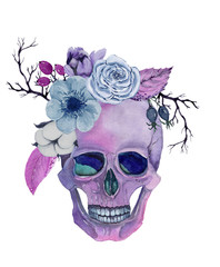 Watercolor skull with flowers. Hand drawn illustration for halloween.