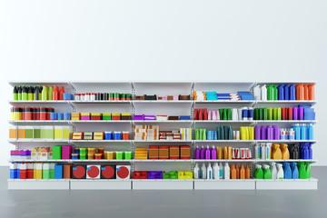 Neutrale Produkte im Regal vom Supermarkt
