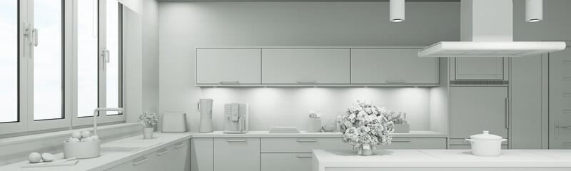 Weißes 3D CAD Modell einer Küche