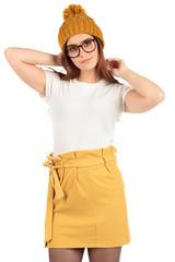 Blank t-shirt mock-up - Cute preppy, fashion geek girl ready for your design