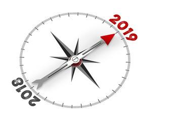 Roter Pfeil zeigt auf das neue Jahr 2019