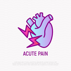 Acute pain in heart thin line icon. Modern vector illustration of symptom heart attack.