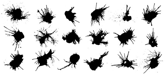 Set of black ink splashes and drops. Different handdrawn spray design elements. Blobs and spatters. Isolated vector illustration