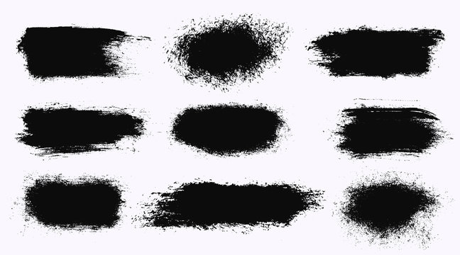 Set of different ink paint brush stroke banners isolated on white background. Grunge backgrounds. Vector illustration