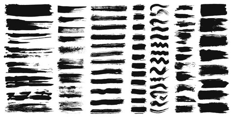 Set of different ink paint brush strokes isolated on white background. Vector illustration