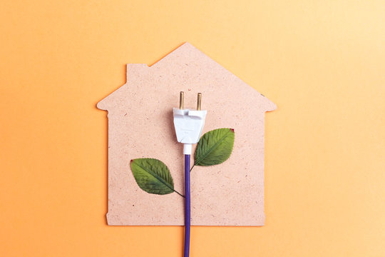 House symbol with plug like a plant. Save energy concept.