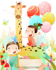 Two children making celebration