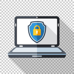 Laptop icon in flat style with a protective shield on a screen o