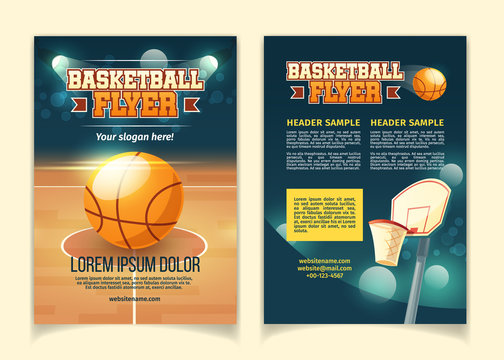 Vector cartoon background, flyers to invite on basketball game. Booklets with court, sports arena in lights of spotlights. Brochure with competition, design template for championship announcement