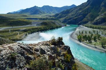 Confluence of Chui and Katun in autumn, Mountain Altai