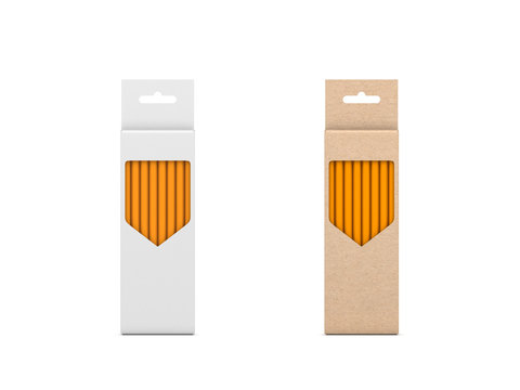 Two Pencils Sets in brown and white cardboard box Mockup isolated on white