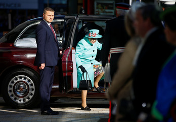 Britain's Queen Elizabeth arrives at The Lexicon shopping centre during a visit to Bracknell