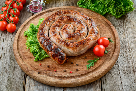 home fried sausage, Tasty and healthy food