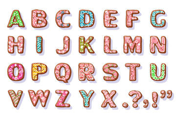 Ginger cookies alphabet. Christmas food letters vector cartoon set isolated on white background.