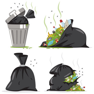 Trash can and black bag with plastic and food waste. Garbage vector cartoon set isolated on white background.