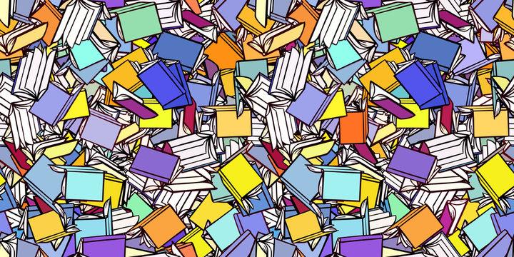 Viele Bücher als nahtloser Hintergrund Header