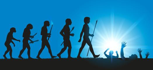 En parodiant l'évolution de Darwin, l'homme fini en disparaissant dans des sables mouvants