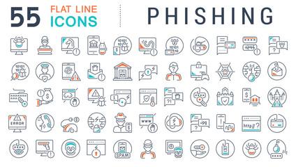 Set Vector Line Icons of Phishing.