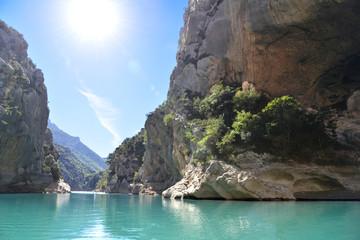 Gorges du Verdon canyon. Lac de Sainte-Croix. Var. Alpes-de-Haute-Provence. France.