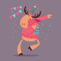 Cute Reindeer dancing in an Ugly Christmas Sweater. Vector cartoon funny deer character isolated on background.