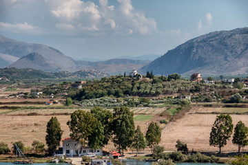 Landscape from top of  Butrint ancient city in Albania