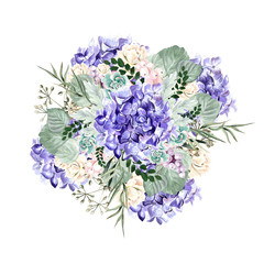Watercolor bouquet with hydrangea flowers, roses, succulent plants, berries and leaves.