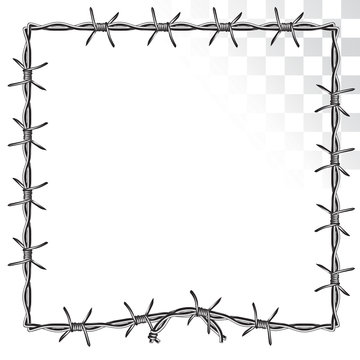 square frame with twisted edges. barbed wire. isolated on transparent background