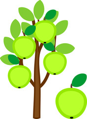 Cartoon apple tree with green apples and leaves isolated on white background