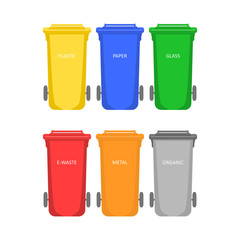Garbage container. Colored waste bins for sorting waste on white background. Flat vector illustration style.