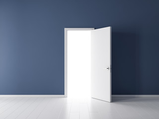 Open white door in empty room with dark blue wall