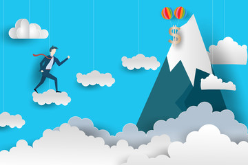 Flat Business Man climbs to the top by Jumping over the clouds. Paper art style design. vector illustration. EPS 10.