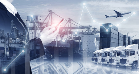 Business shipping industry logistics multiple exposure financial background